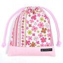 巾着袋・中 マチ無し給食袋 スカンジナビアのフラワーパーク(ピンク) × オックス・ピンク【給食袋】