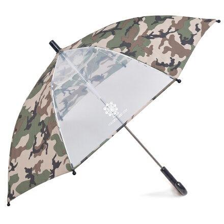 ジャンプ傘(50cm)迷彩・カーキ(レイングッズ子供用かさアンブレラ透明窓グラスファイバーネームタグ