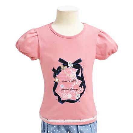 キッズTシャツ(半袖)dressyroundribbonプリントTシャツクルーネックTシャツ(こども