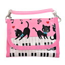 キッズウォレット(財布) チェーン付き ピアノの上で踊る黒猫ワルツ(ピンク)(子供 小学生 女の子)