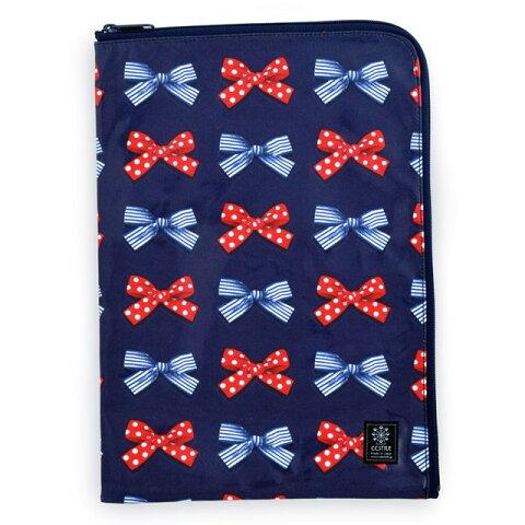 連絡袋(A4サイズ) ポルカドットとストライプのフレンチリボン(ネイビー)