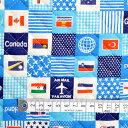 国旗で旅する世界旅行(スカイブルー) キルティング生地 入園入学 入園準備 入学準備 入園グッズ 手