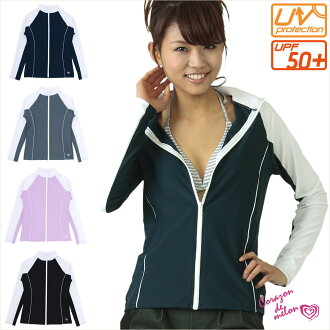 front zipper rush guard Lady's / long sleeves