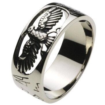 ホワイトメタルリング 指輪 メンズ メンズ ファッションリング ネイティブ ホーク 鷹 民族模様 イーグル 鷹 コンドル インディアンジュエリー 男性用 透かし彫り