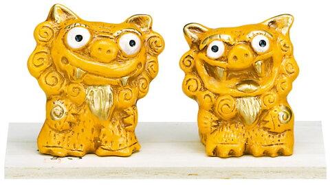 風水立ちシーサー 黄=金運 k861 金運アップでお財布万歳という願いをこめて作られました 沖縄 置物 インテリア 風水 幸運を招くと言われる 黄色 金運 かわいい