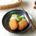 鉄結晶釉 丸型 22cmマルチボール 料理を引き締める黒の器 シェフサラダボール シチュー皿 和洋食 パスタ皿 たっぷり麺鉢 訳あり