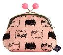 猫雑貨 帆布シリーズ猫3兄弟3.5寸がま口 ビーズ付き ピンク(単品)【にゃん屋】