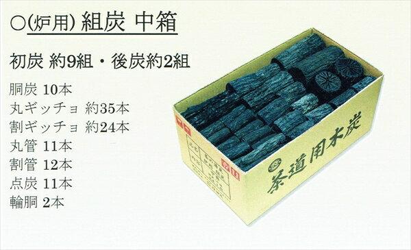 【茶道具】炉用くぬぎ炭組炭 中箱(初炭約9組・後炭約2組)※送料無料!