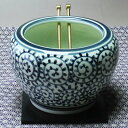 A Tokoname firing mini-brazier (Tang grass, white dark blue) [free shipping on a condition] (belonging to planking, ash, tongs, charcoal) [Respect for the Aged Day gift] [1koff]
