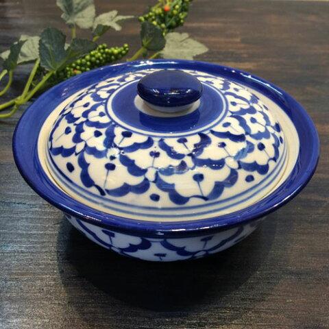 【蓋付きお椀 13cm】青白陶器青白食器パイナップル柄陶器 小鉢タイ料理アジアン料理タイ雑貨