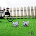 犬 フレブル ピアス rR ダブルアール [ フレンチブルドッグ ] Handmade チタンピアス シンプル 犬 フレブル 鼻ペちゃ モノトーン 大人かわいい 金属アレルギー対応 プレゼント ギフト