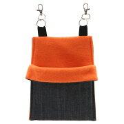 小動物の寝袋【デニム&フリース】S オレンジ ハンドメイド【HLS_DU】 関東当日便