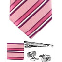 流行包, 飾品, 名牌配件 - FURBO DESIGN フルボデザイン F2177Acolor3_733805 メンズ ネクタイ チーフ タイピン カフス 4点セット ピンク ストライプ