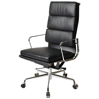 Eames アルミナムチェア Office Chair high back soft padded black leather leather