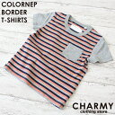 【メール便発送可】CHARMYカラーネップボーダー半袖Tシャツ