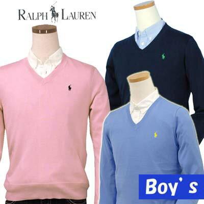 POLO by Ralph Lauren Boy'sプレミアムコットンVネックセーター【ポロ ラルフローレン】