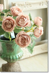 【メール便340円★】造花 バラ 観葉植物 インテリア 造花 【薔薇 アンティーク オースチンローズ(ピンク)】