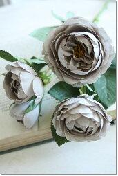 【メール便340円★】造花 バラ 観葉植物 インテリア 造花 【薔薇 アンティーク オースチンローズ(グレイ)】