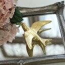 【人気商品★】鳥 オブジェ ウォールデコレーション バード S アンティーク風 ゴールド 10×12cm 奥行4cm