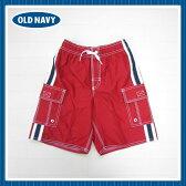 オールドネイビー正規(OldNavy-s3)サイドのラインがかっこいい赤のトランクス水着。男の子用(6M 12M 1歳 1才 18M 2歳 2才 24M 2T 3歳 3才 3T 4歳 4才 4T 5歳 5才 5T 男の子用)(80cm 90cm 95cm 100cm 110cm 374120-02)