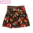 ジンボリー 正規品 Gymboree -2)コーデュロイの花柄ブラウンスカート インナーパンツ付き(1歳 1才 2歳 2才 24M 2T 3歳 3才 3T 4歳 4才 ..