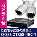 Q-SEE 防犯カメラ 同時 カメラ4台 室内・室外設置可能 外出先からチェック アプリ リアルタイム 簡単 監視 高感度 カメラ 防犯 安全 子供 ペット 旅行 簡単接続