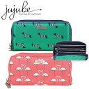 洗濯機で丸洗い 長財布 財布 財布 チャック レディース 犬 犬柄 フラミンゴ フラミンゴ柄 ピンク 緑 ボーダー 薄型 かわいい 女の子 Jujube ジュジュビ ショルダー シーパンク ビースペンディ