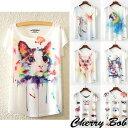 送料無料 ネコ 鳥 アニマルプリント 水彩画タッチ Tシャツ ポップ カラフル メルヘン ヨガウェア
