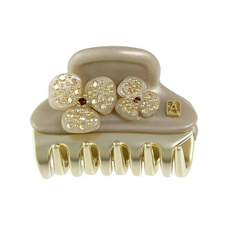 ALEXANDRE DE PARIS / Alexandre de Paris PINCE MINI CAMELIAS MEDIUM SIZE hairclip Bajo gold ICC45-14339-05 S1-BEIGE ETE/OR