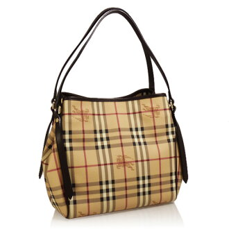 BURBERRY / Burberry bag LL SM CANTERBURY HYM ladies w/pouch tote bag Haymarket checks (classic) and Brown 3741175 2070T CHOCOLATE BURBERRY ばーばり-BA - Bali -
