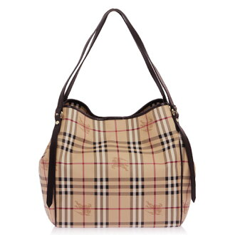 BURBERRY/ HAYMARKET CHECK TOTE BAG/ chocolate MD CANTERBURY 3741797 HYM 2070T CHOCOLATE