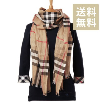 Burberry BURBERRY silk blend scarf GAUZE GIANT CHK camel check 3743232 CHK:AALKT 2310C CAMEL CHECK