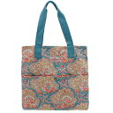 【60%OFF】CATH KIDSTON [キャスキッドソン]WASHED COTTON TOTE w/pocket(ウォッシュドコットントートバッグ)PAISLEY/PETROL