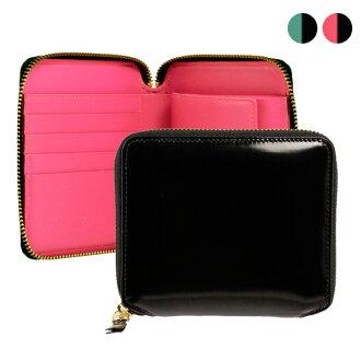 Round Comme des Garçons wallet GLOSSY BLACK zip 2 fold wallet black / pink black and blue SA2100FL BLACK/PINK BLACK/BULE COMME DES GARCONS Comme des Garçons