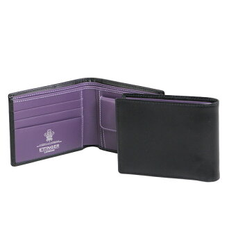 ETTINGER and Ettinger men's two fold wallets (purses with) black PURPLE/STERLING COLLECTION BILLFOLD WITH 3 c/c & ETTINGER COIN PURSE ST141JR BLACK/PURPLE eh I got-