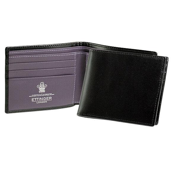 エッティンガー ETTINGER 財布 ロイヤルコレクション メンズ 二つ折り財布 ブラック BILLFOLD WITH 6 C/C ST030CJR BLACK/PURPLE PURPLE/STERLING COLLECTION