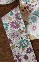 バイアステープ《YUWA》Graceful Flowersパープルグリーン/有輪バイヤステープ/4cm幅バイアステープ yuwabias4[3m単位]