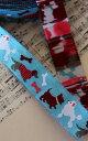 【USAリボン/輸入リボン】《刺繍リボン》USA製刺繍リボン/チロリアンテープ/チロルテープ プードル・シュナウザー・ダックス柄ドッグ柄水色刺繍テープ 幅22mm K1(10cm単位)