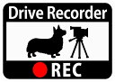[CraftBunny] ドライブレコーダー搭載ステッカー「コーギーとビデオカメ