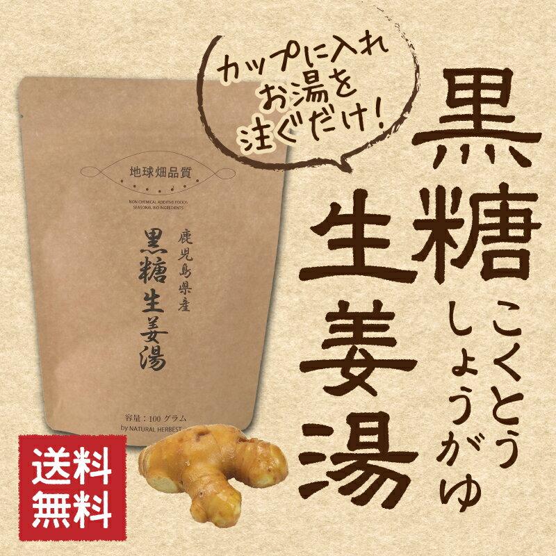 黒糖生姜湯 100g 鹿児島・沖縄の黒糖と生姜 しょうが湯 送料無料 メール便 冷え性対策