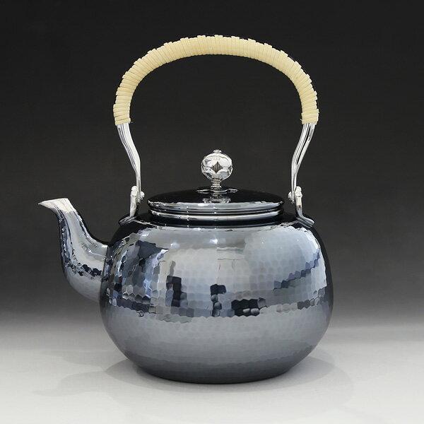 銀川堂 純銀・湯沸し 1100cc 鎚起模様 /銀瓶 茶器 茶道具