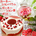 送料無料 カーネーションバウムクーヘン ティーポット お花のつぼみ 母の日ギフト 201