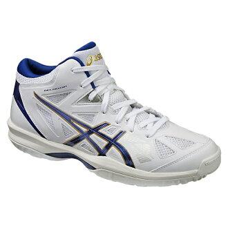 專用積體電路 GELHOOP V 8 圭爾夫 V8 白色和深藍色 TBF330-0148年籃球鞋 bash 籃子籃球隊伍 ASIC 2016 年春/夏