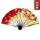 舞扇子 飾り扇子 踊り用 京扇子 9寸金折り鶴(赤ぼかし) 舞踊用