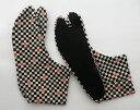 変わり市松(黒/橙) 4枚コハゼ[25.0cm? 男性 日本製 行田市松 和柄 柄足袋 男 柄 足袋