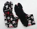 武具(黒地) 4枚コハゼ 柄足袋 和柄 日本製 手づくり 22.0cm〜24.5cm