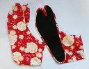桜(赤地)4枚コハゼ[行田 柄足袋 日本製 手づくり さくら日本 和装小物 和柄 柄 足袋][ポスト投函配達は送料無料]※商品により、柄の出方が異なります