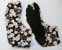 桜模様 /サテン(黒地) 4枚コハゼ 柄足袋 和柄 桜 日本製 手づくり 22.0cm〜24.5cm