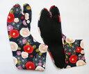 麻の葉とツバキ(紺)4枚コハゼ 柄足袋 アムンゼン 椿 和柄 日本製 手づくり
