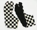 大柄市松(黒/白)4枚コハゼ 柄足袋 和柄 日本製 手づくり